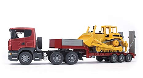 Bruder Scania R Series Low Loader with Cat Bulldozer 03555