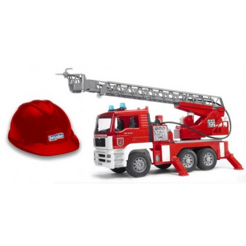 Bruder MAN Fire Engine with Light and Sound, Toy Helmet 01981