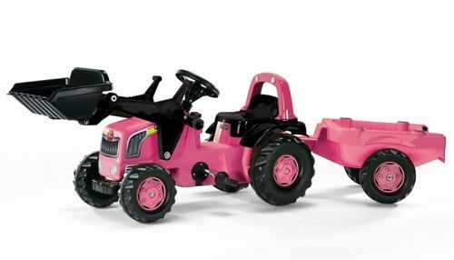 Rolly Kid Pink Tractor , Loader & Trailer 02453