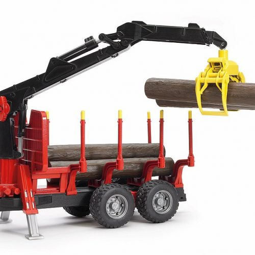 Bruder Forestry Trailer w/Loading Crane, 4 Trunks & Grab 02252