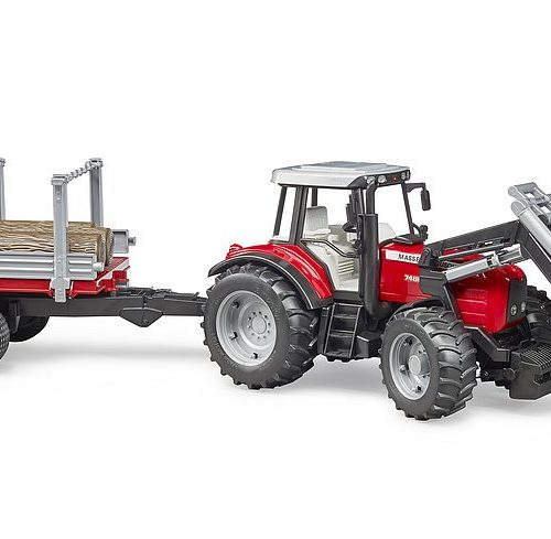 Bruder MF 7480 w/Front Loader, Timber Trailer & 3 Trunks 02046   OUT OF STOCK